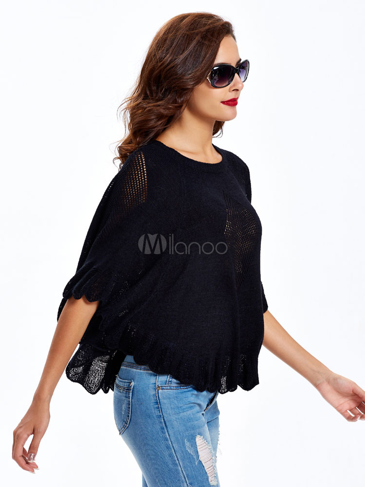 gelben poncho pullover frauen mit r schen halbe rmel l ssig strickpullover. Black Bedroom Furniture Sets. Home Design Ideas