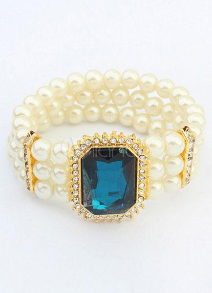 Vintage Wedding Bracelet Rhinestone Layered Jeweled Bridal Bracelet