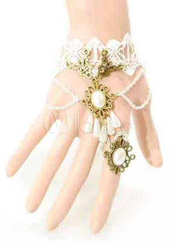 Vintage Wedding Bracelet Lace White Chain Bohemian Bridal Bracelet