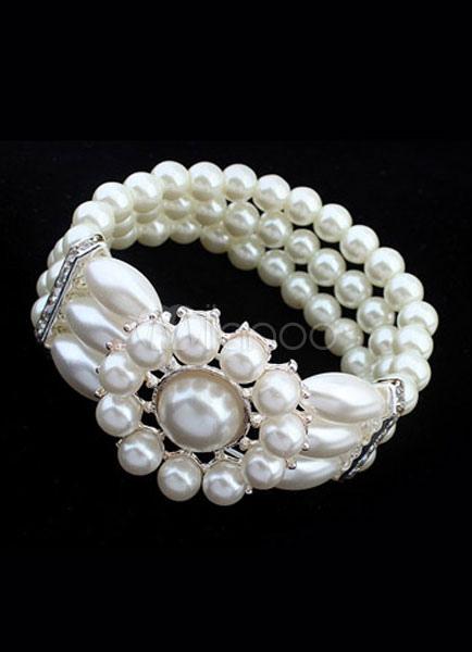 Vintage Wedding Bracelet White Rhinestone Bridal Bracelet With Flower
