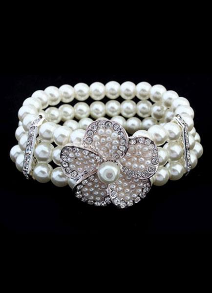 White Wedding Bracelet Vintage Rhinestone Flower Bridal Bracelet