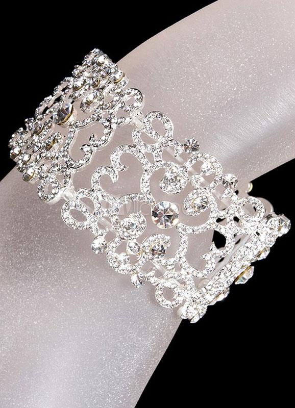 Vintage Rhinestone Pierced Wedding Bridal Bracelet