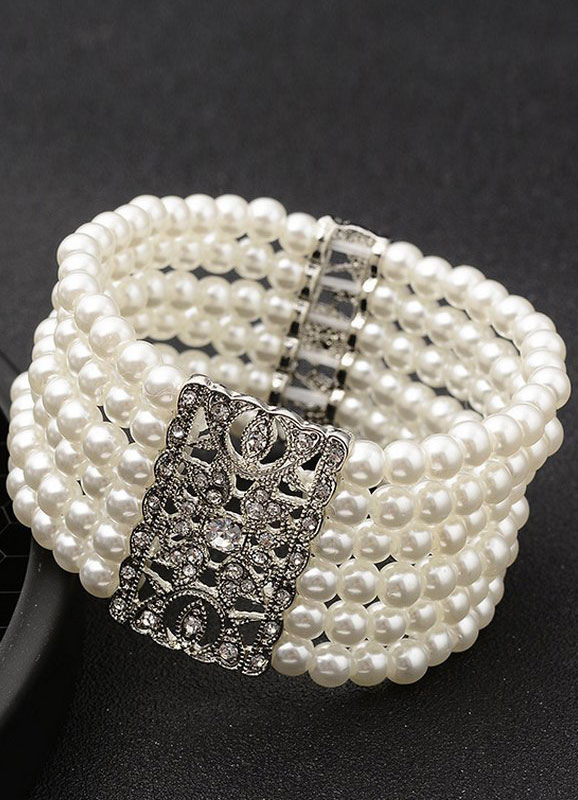 Pearl Wedding Bracelet White Vintage Alloy Layered Bridal Jewelry