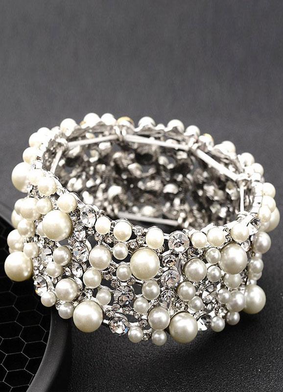 Pearl Wedding Bracelet White Vintage Layered Rhinestone Bridal Jewelry