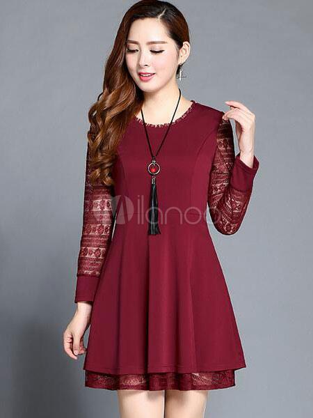 Long Sleeve Dress Women's Burgundy Lace Semi-sheer Pleated Skater Dress (Women\\'s Clothing Skater Dresses) photo