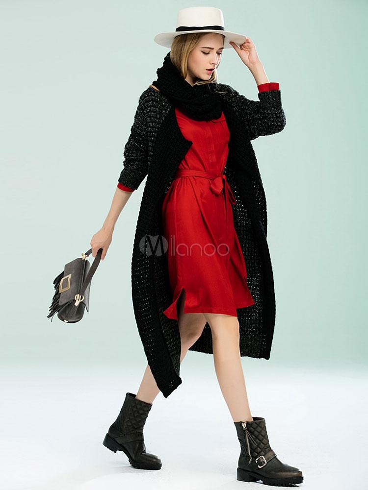schwarze wolle mantel damen schal kragen langarm bergro e strickjacke mantel. Black Bedroom Furniture Sets. Home Design Ideas