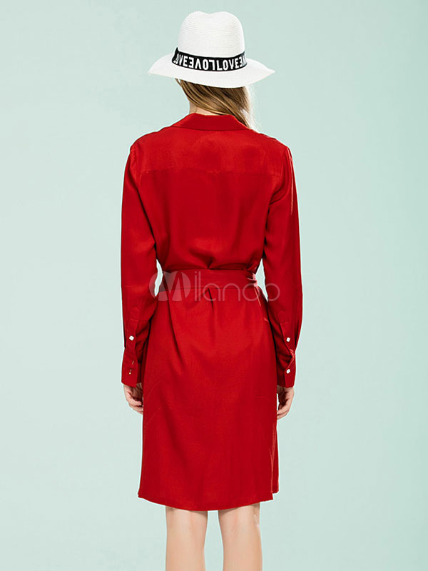 rotes shirt kleid damen leinen g rtel langarm kleid mit. Black Bedroom Furniture Sets. Home Design Ideas