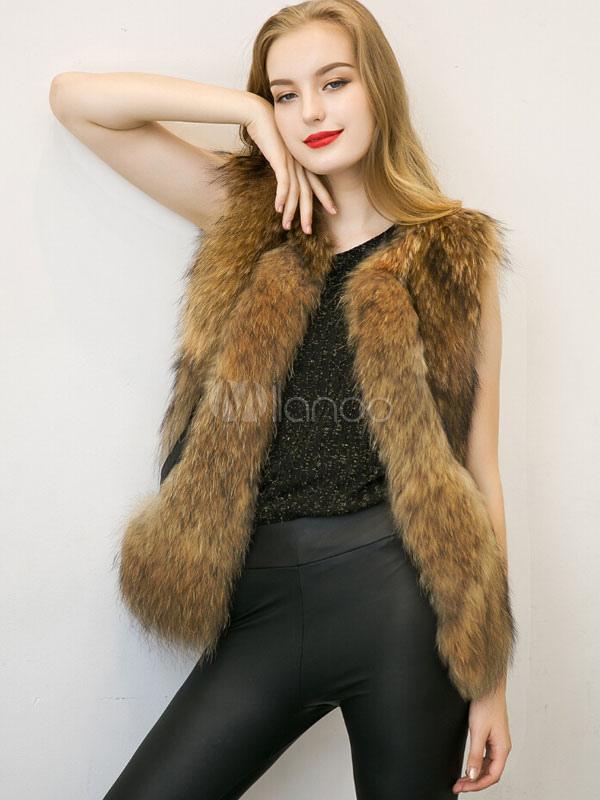 Hiver fourrure brun gilets bijou cou sans manches femmes outwear avec col fausse fourrure - Gilet vrai fourrure sans manche ...