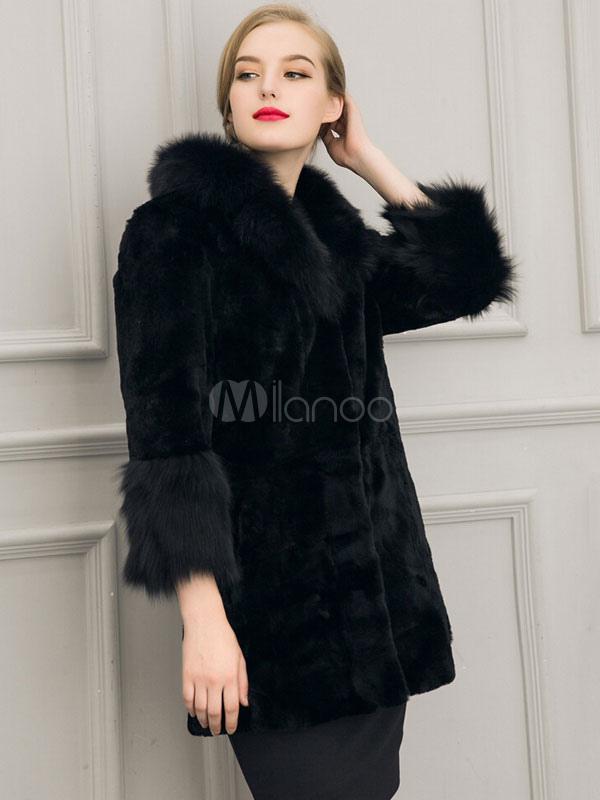 blanc manteau fausse fourrure manteau manches longues col turndown f minin. Black Bedroom Furniture Sets. Home Design Ideas