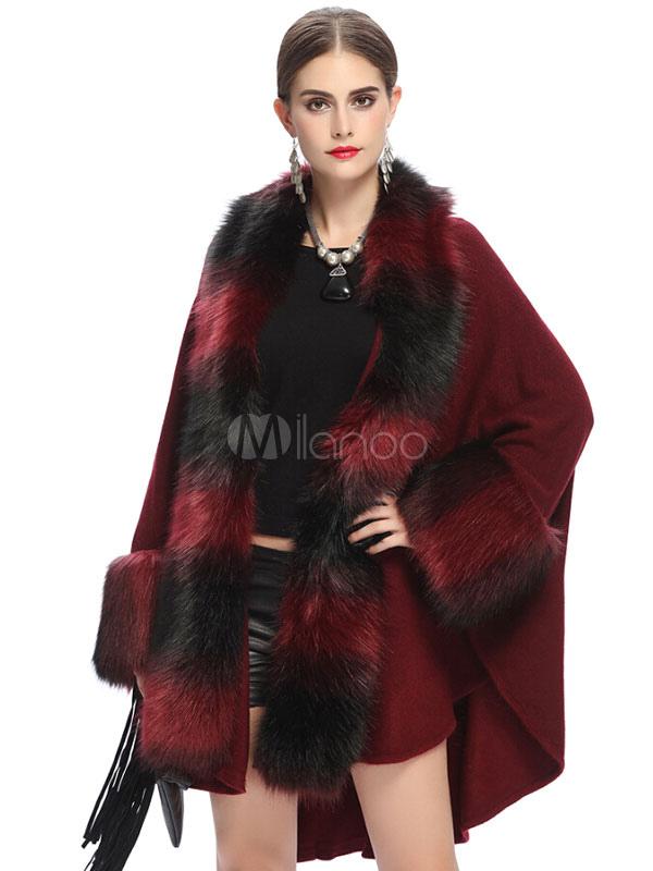 bourgogne poncho manteau fausse fourrure batwing long manches ouvertes avant manteau d hiver. Black Bedroom Furniture Sets. Home Design Ideas