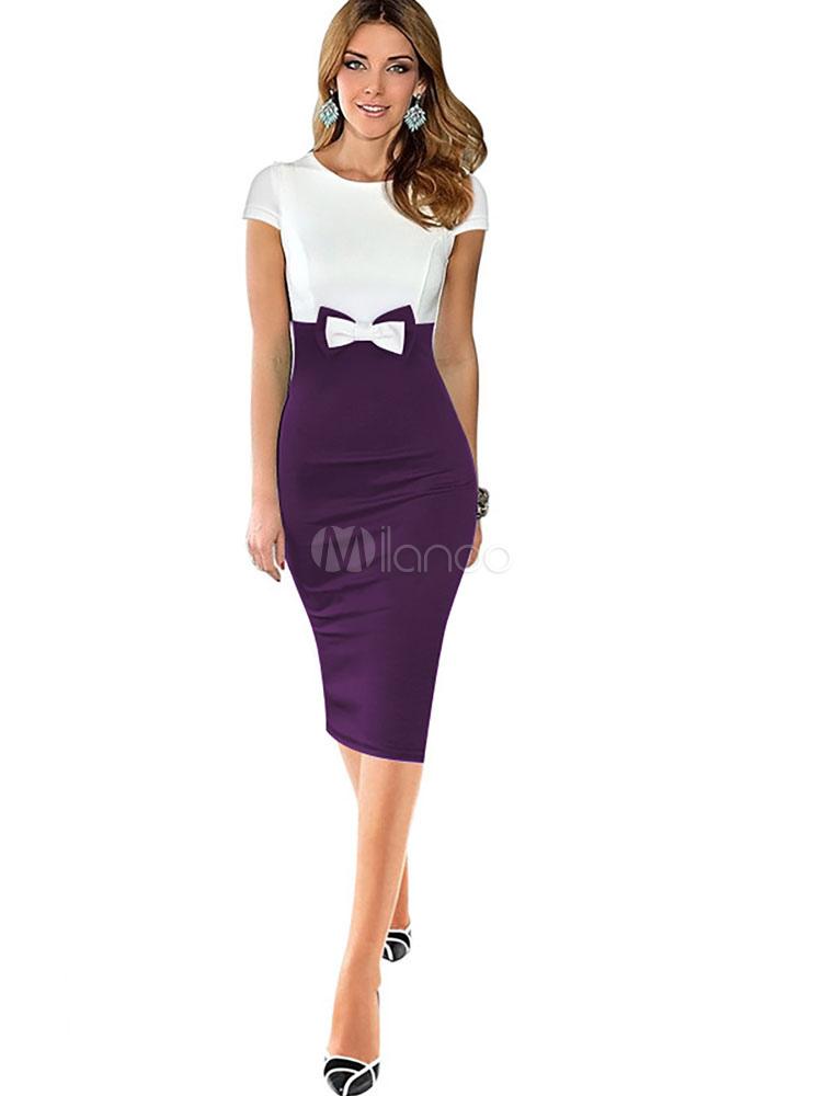 robe bodycon deux ton bijou manches courtes femmes fa onnage robe fourreau avec bow. Black Bedroom Furniture Sets. Home Design Ideas
