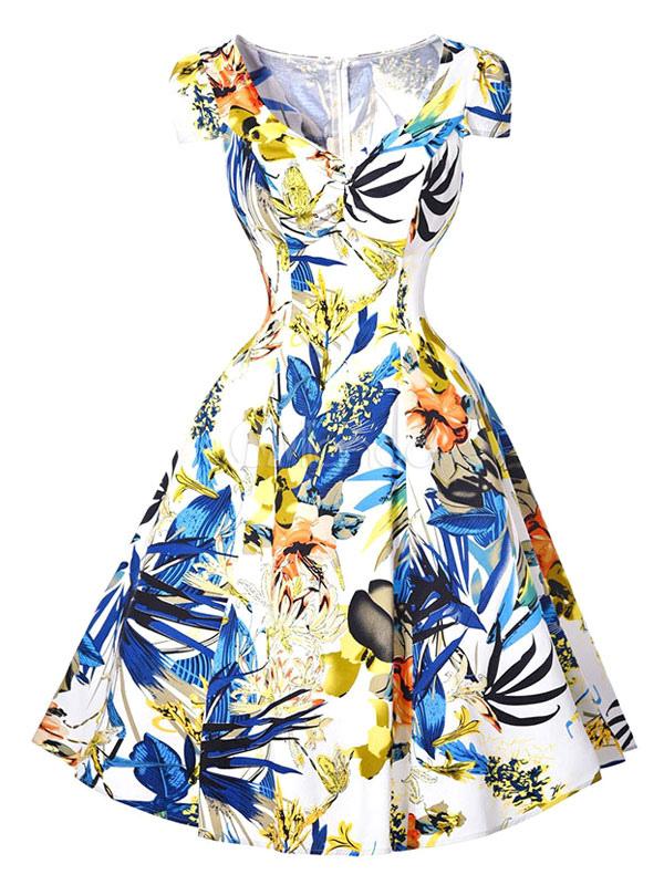 ... Kleid Damen V Neck Kappe Ärmel gedruckt Rüsche eine Linie Kleid