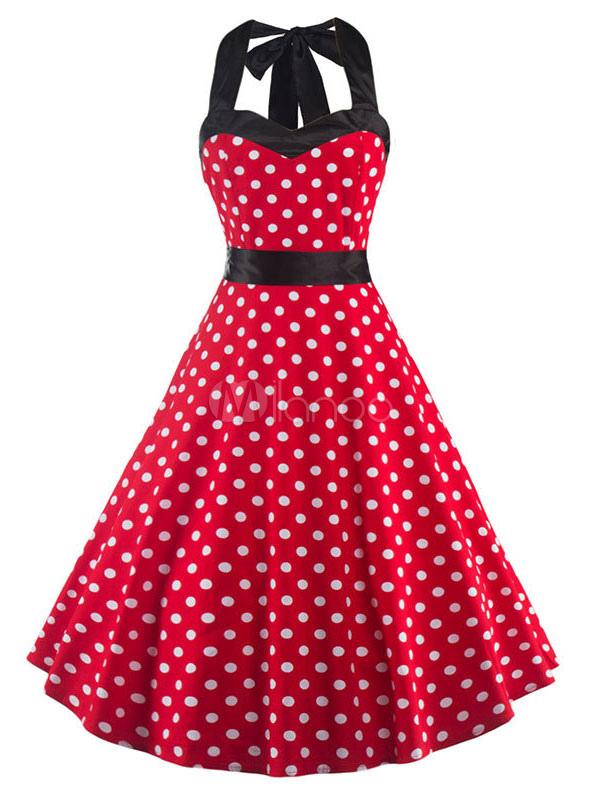 Red Vintage Dress Halter Sleeveless Backless Criss Cross Polka Dot Flared Dress With Sash (Women\\'s Clothing Vintage Dresses) photo