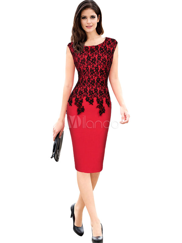Red Bodycon Dress Lace Short Sleeve Slim Fit Shaping Sheath Dress (Women\\'s Clothing Bodycon Dresses) photo