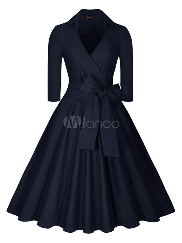 Women's Vintage Dress Deep Blue Long Sleeve V Neck Circle Dress With Bow (Women\\'s Clothing Vintage Dresses) photo