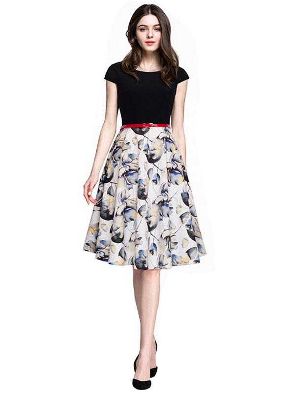Printed Vintage Dresses Short Sleeve Black White Knee Length Retro Dresses With Belt (Women\\'s Clothing) photo