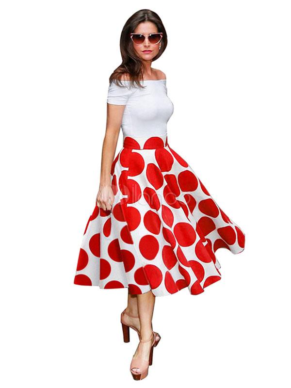 magn tique robe vintage moderne rouge pois pliss e avec jupe parapluie hors de l 39 paule. Black Bedroom Furniture Sets. Home Design Ideas