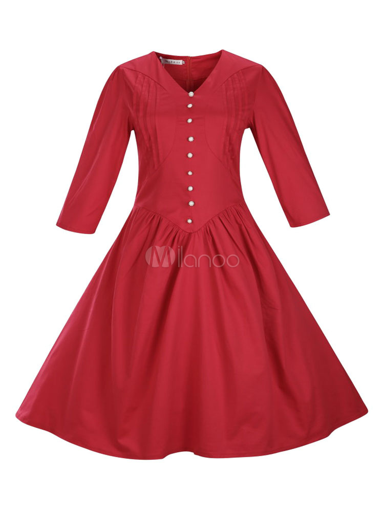 rote vintage kleid halbarm v neck slim fit plissee eine linie kleid mit kn pfen. Black Bedroom Furniture Sets. Home Design Ideas