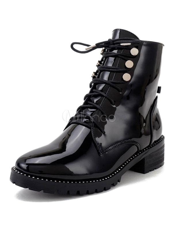 bottine femme bout rond et talons pais en cuir verni noire style cuir verni avec lacets boots. Black Bedroom Furniture Sets. Home Design Ideas