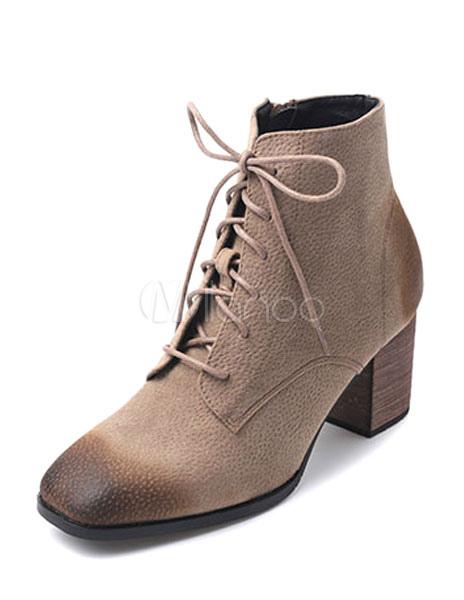 bottine femme bout carr et talons pais en faux cuir conception antique avec lacets boots. Black Bedroom Furniture Sets. Home Design Ideas