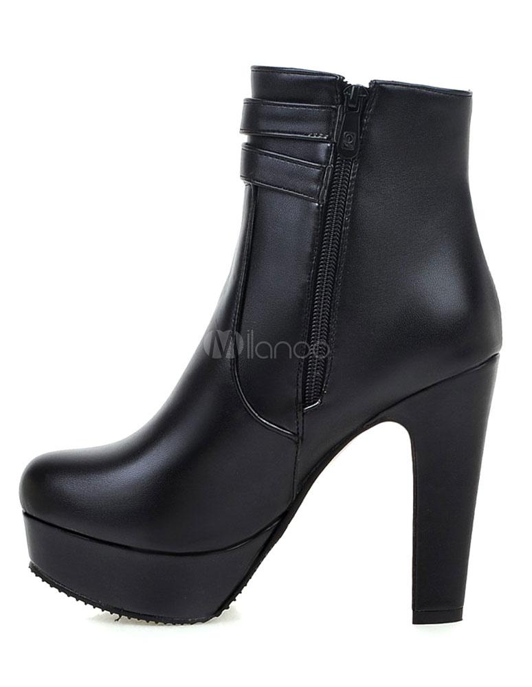 bottine femme bout rond et talons pais en pu unicolore avec boucle boots. Black Bedroom Furniture Sets. Home Design Ideas