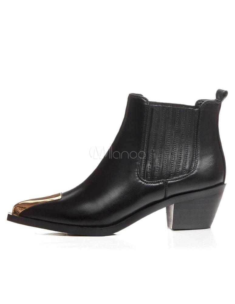 bottine femme bout pointu et talons pais en cuir noire unicolore ornement m tallique boots. Black Bedroom Furniture Sets. Home Design Ideas