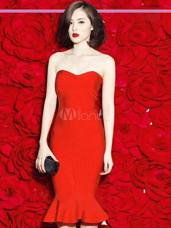 Red Party Dress Vintage Strapless Sleeveless Spandex Ruffle Slim Fit Mermaid Bodycon Dress (Women\\'s Clothing Party Dresses) photo