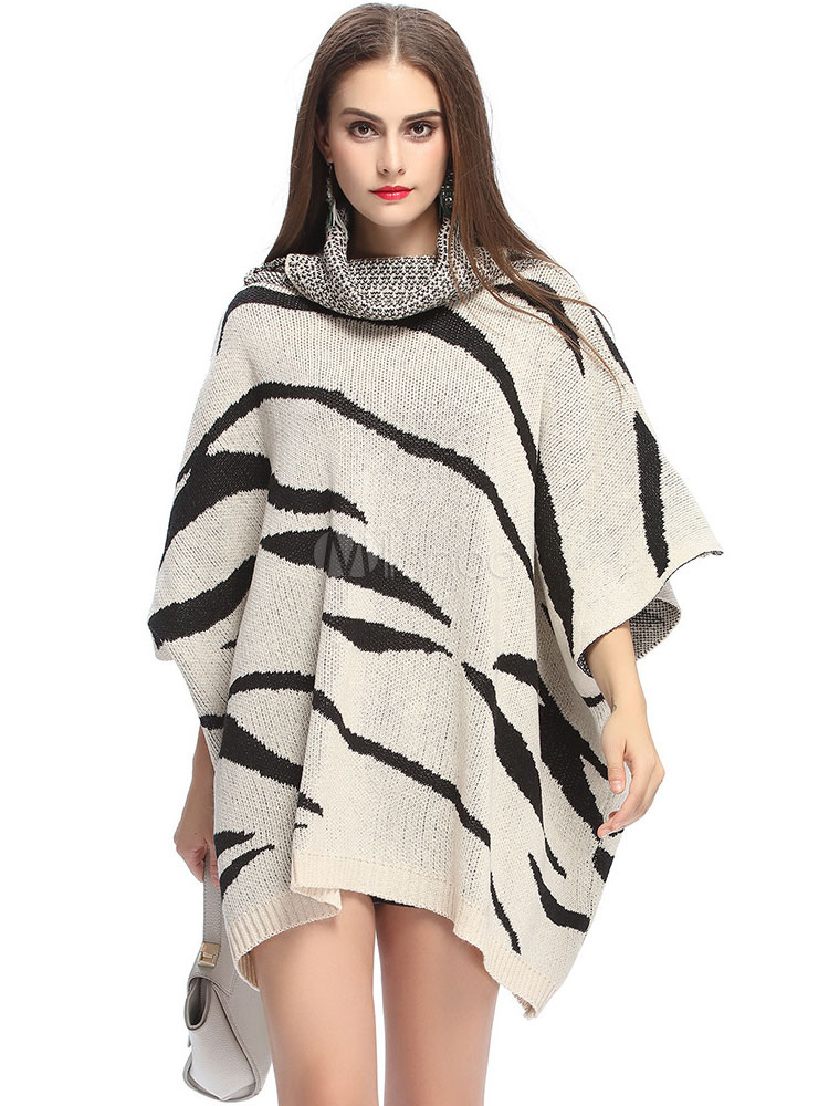 poncho pull col roul ray manches courtes oversize faible haute femmes en tricot poncho. Black Bedroom Furniture Sets. Home Design Ideas