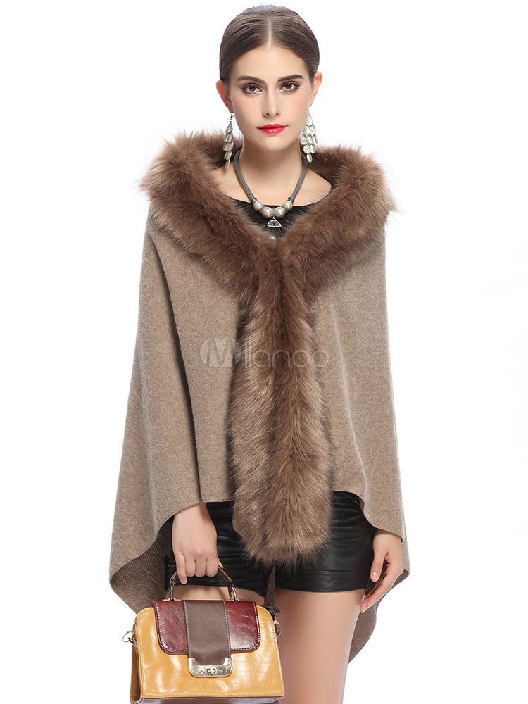 poncho cape des femmes fausse fourrure hooded haute basse cape manteau. Black Bedroom Furniture Sets. Home Design Ideas