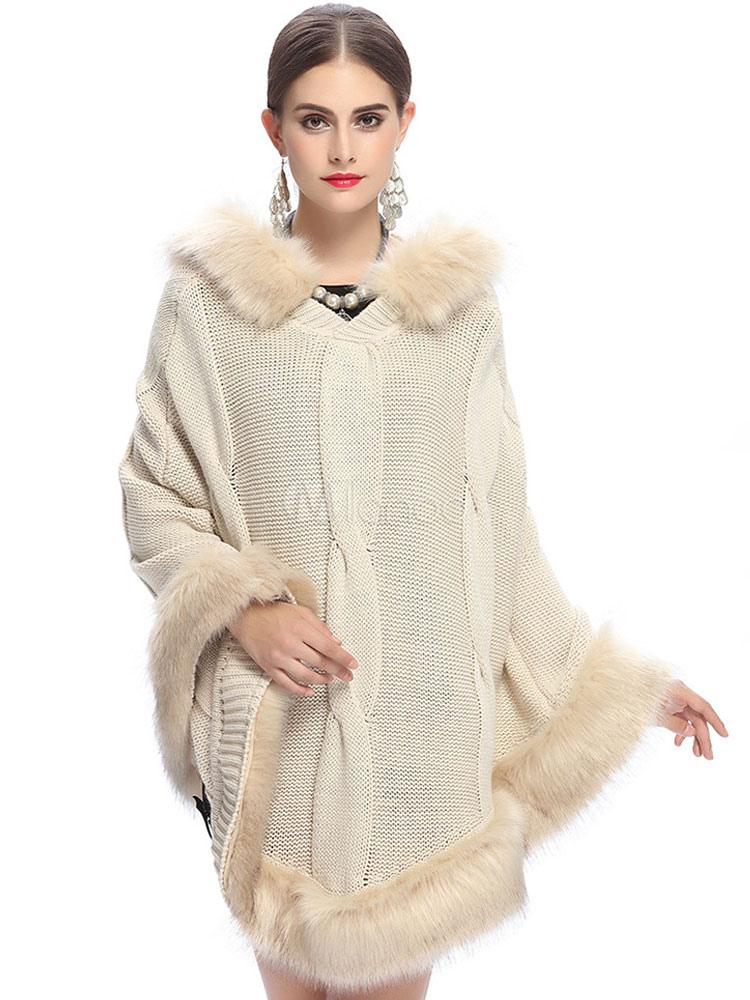 c ble de poncho pull femmes capuche fausse fourrure manteau tricot poncho oversize noir ivoire. Black Bedroom Furniture Sets. Home Design Ideas