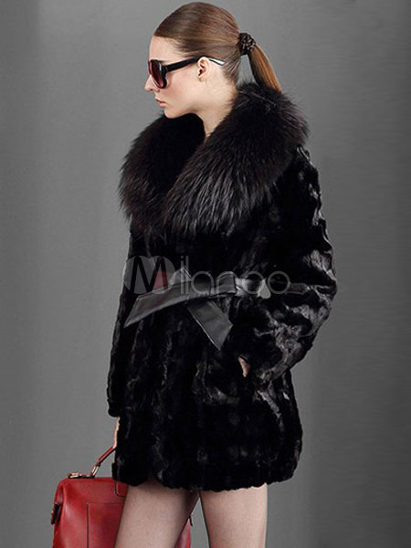 kunstpelz mantel damen schwarz kissen kragen luxuri se. Black Bedroom Furniture Sets. Home Design Ideas