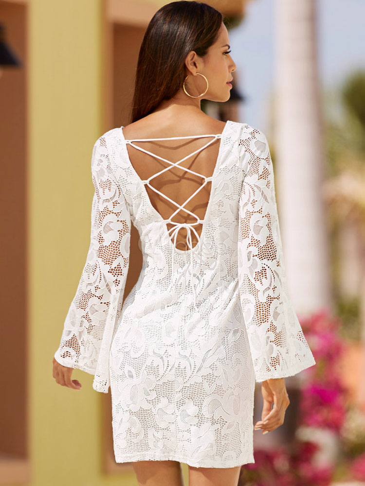 dos nu dentelle robe dentelle blanche manches longues f minin robe bodycon. Black Bedroom Furniture Sets. Home Design Ideas