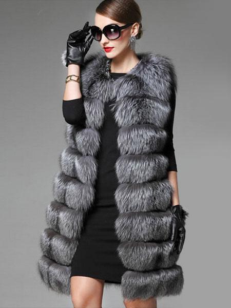 bijou gris de la fausse fourrure manteau femme sans. Black Bedroom Furniture Sets. Home Design Ideas