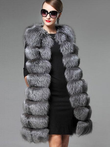 bijou gris de la fausse fourrure manteau femme sans manches en couches long veste d hiver. Black Bedroom Furniture Sets. Home Design Ideas