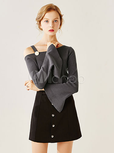 Sexy Grey Shirt Women's Slit Flared Long Sleeve Buttoned One Shoulder Cotton Knitwear thumbnail