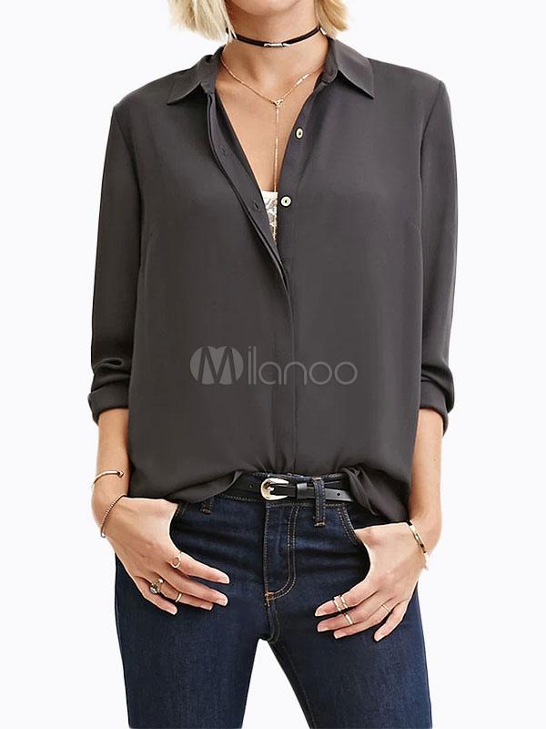 Women's Chiffon Blouse Deep Grey Long Sleeve Turndown Collar Front Buttons Casual Shirt thumbnail