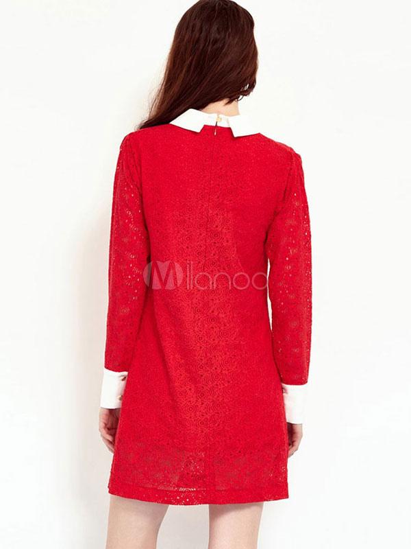 dentelle rouge robe col turndown l gante robe manches longues pour femmes. Black Bedroom Furniture Sets. Home Design Ideas