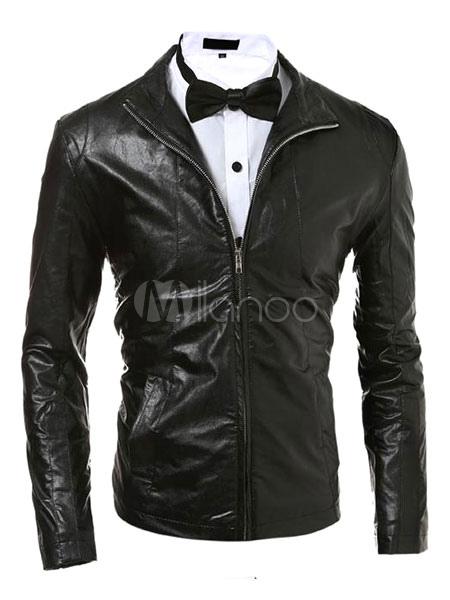 Men's Black Jacket Long Sleeve PU Front Zipper Short Jacket thumbnail
