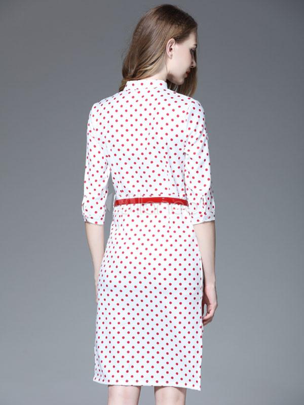 fascinante robe droite mode en polyester pois coupe asym trique fendu col montant. Black Bedroom Furniture Sets. Home Design Ideas