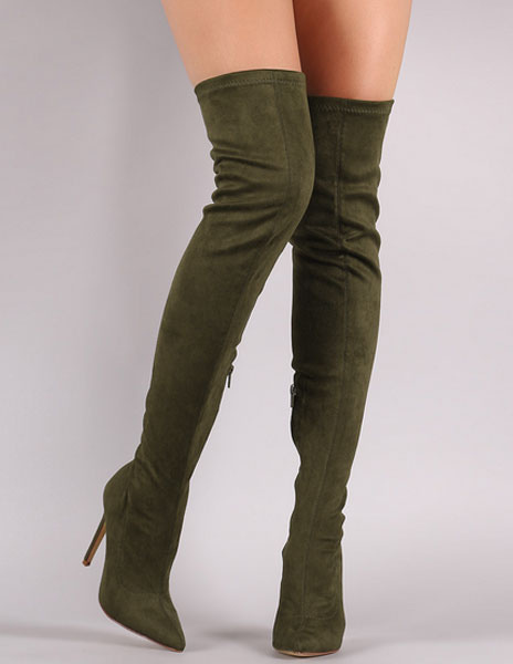 Suede Elastic Boots High Heel Thigh High Boots Women's Pointed Toe ...