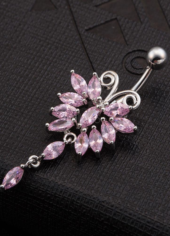 bijoux de piercing nombril anneau blanc dangle papillon incrust de pierres pr cieuses en cuivre. Black Bedroom Furniture Sets. Home Design Ideas