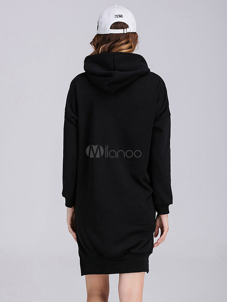 kleid langarm frauen bedruckter baumwolle hoodie kleid mit kapuze. Black Bedroom Furniture Sets. Home Design Ideas
