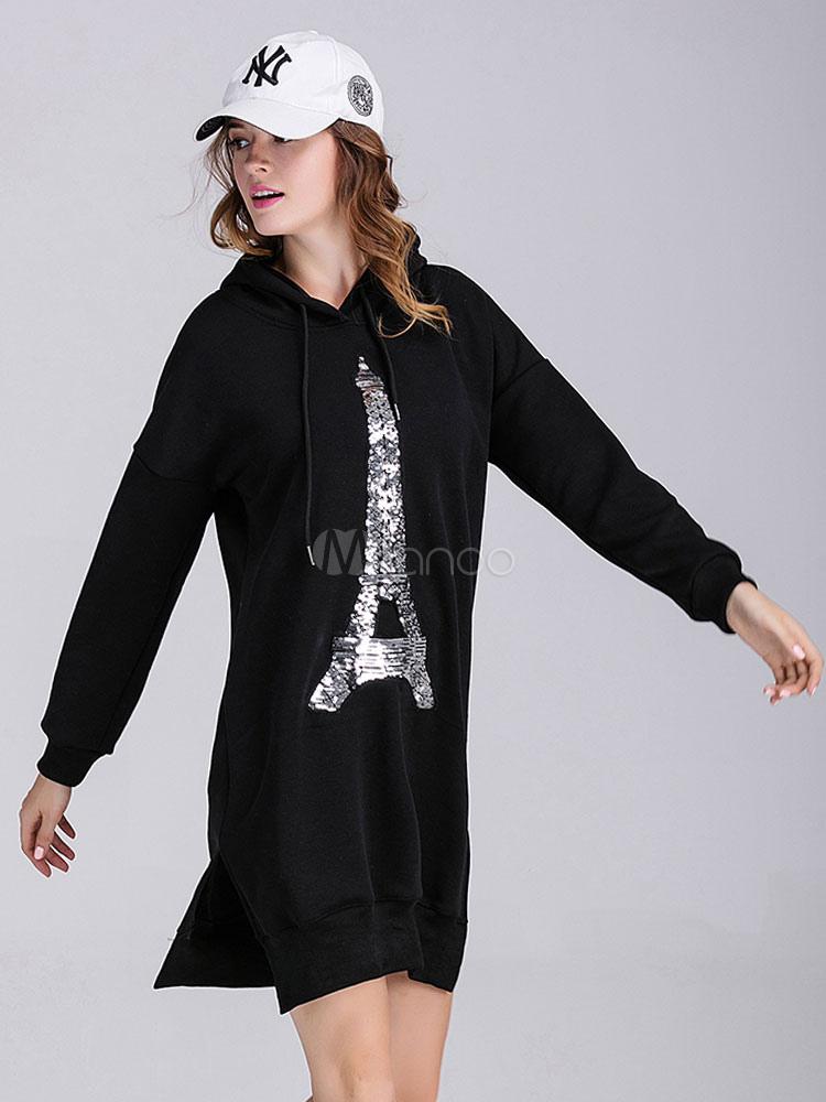 schwarzes kleid langarm frauen bedruckter baumwolle hoodie. Black Bedroom Furniture Sets. Home Design Ideas
