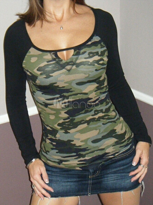 camo t shirt women 39 s long sleeve contrast color keyhole. Black Bedroom Furniture Sets. Home Design Ideas