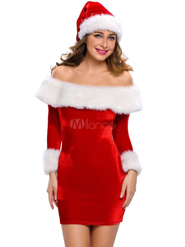 attraktives kost m f r 2013 weihnachten mit hut und kleid in rot. Black Bedroom Furniture Sets. Home Design Ideas