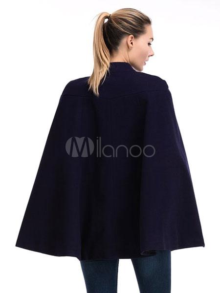 poncho de laine manteau femme de pliss manteau cape poncho oversize court occasionnel. Black Bedroom Furniture Sets. Home Design Ideas