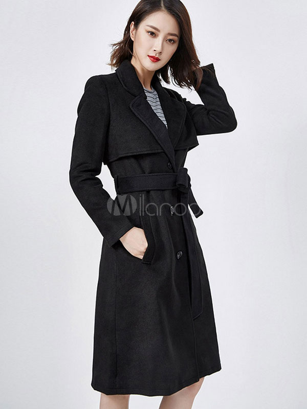 schwarzer trenchcoat damen slim fit lange belted. Black Bedroom Furniture Sets. Home Design Ideas