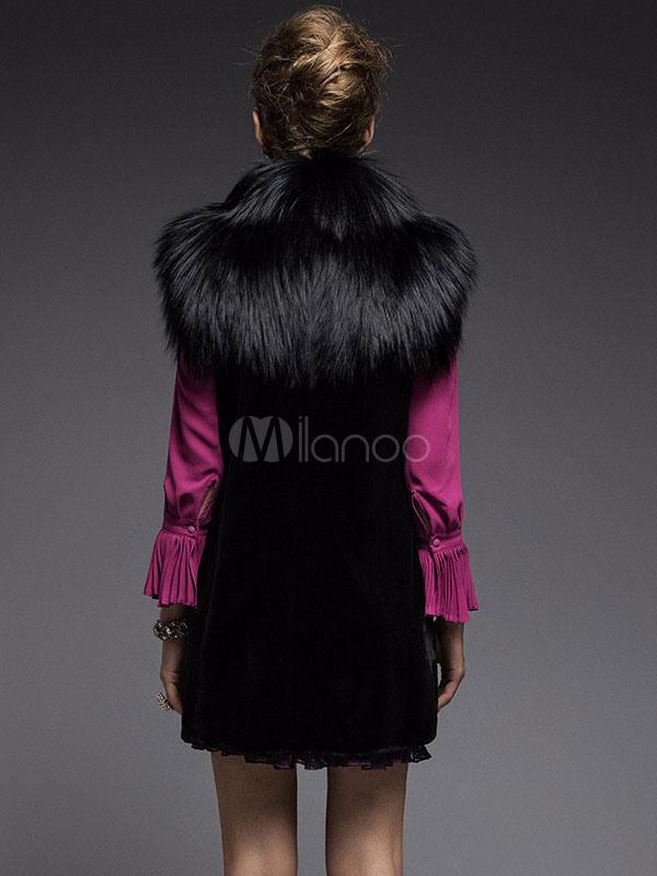 fausse fourrure manteau noir sans manches col turndown slim fit hiver veste manteaux pour femmes. Black Bedroom Furniture Sets. Home Design Ideas