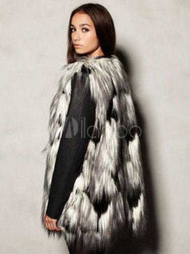 fausse fourrure manteau bicolore sans manches ouvertes avant hiver veste manteaux pour femmes. Black Bedroom Furniture Sets. Home Design Ideas