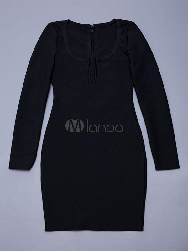 schwarze sexy partykleid sch pfte keyhole ausschnitt lange rmel. Black Bedroom Furniture Sets. Home Design Ideas